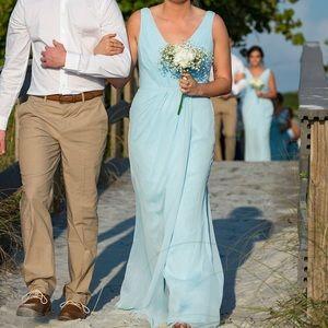 Baby blue floor length bridesmaid dress.